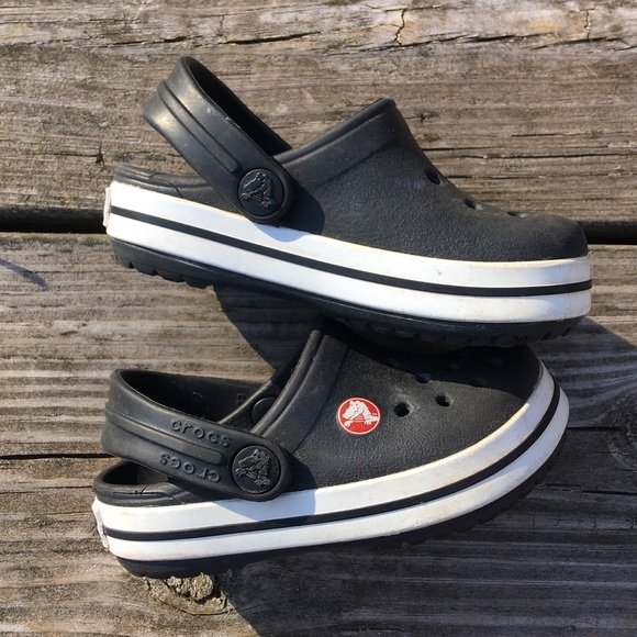 7f70f1137 CROCS Other - CROCS Classic Style Kids Black   White Mules Shoes